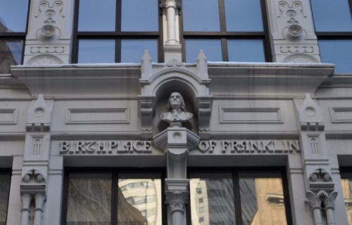 Birthplace of Franklin at 17 Milk Street, Boston.