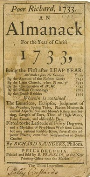 A 1733 edition of Poor Richard's Almanac