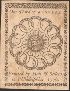 Continental currency printed by Hall and Sellers.