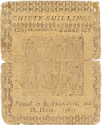 Currency printed by Franklin and Hall