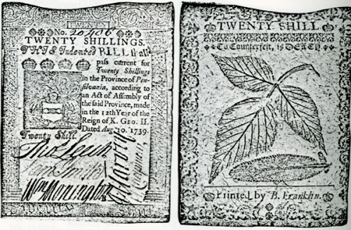 Paper currency printed by Franklin