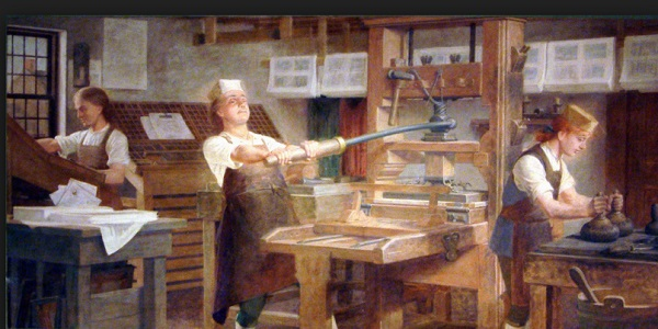 Printing Press. Charles Mills Murals, Benjamin Franklin Institute of Technolog