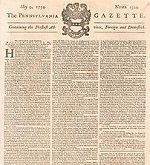 Franklin acquired The Pennsylvania Gazette in 1729 from his former boss Samuel Keimer.