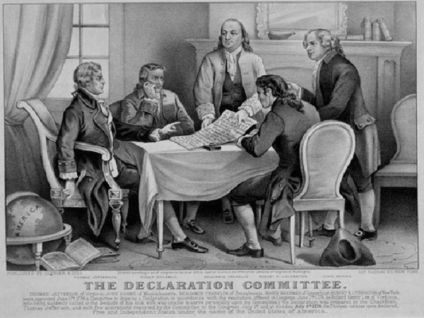 The Committee in charge of drafting the Declaration of Independence.