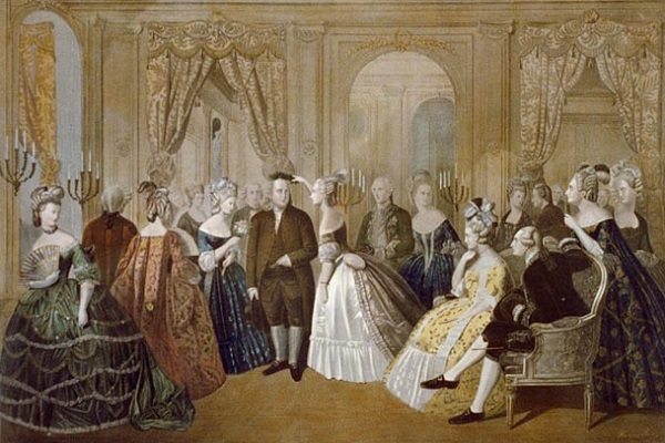 Franklin's appearance at the Court in Versailles on March 20, 1778. King Louis XVI approved the Treaty of Alliance between France and the United States. Library of Congress.