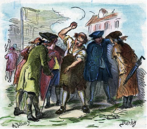 Denunciation of the Stamp Act. Woodcut by Darley