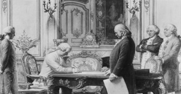 Treaty of Alliance with France signed on February 6, 1778 at the Hôtel de Crillon in Paris.