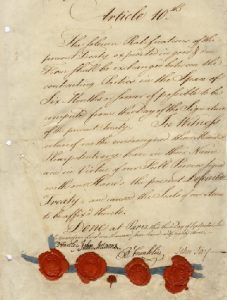 Article 10 of the Treaty of Paris. At the bottom are the signatures of the American representatives and their respective seals.
